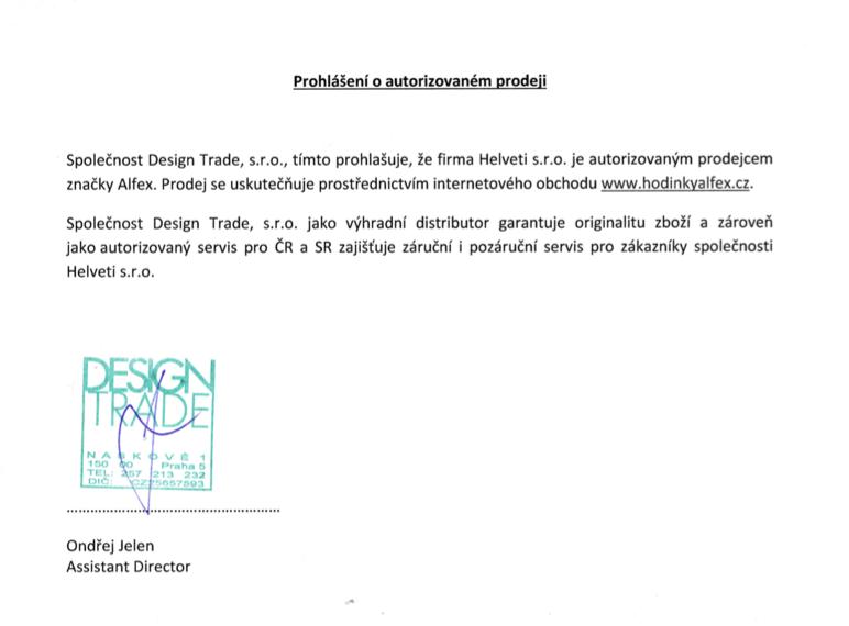 Certifikát autorizovaného prodejce Alfex